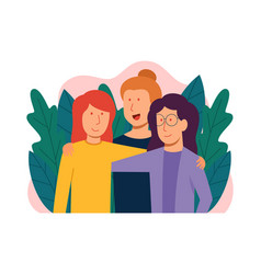 smiling young hugging friends vector image