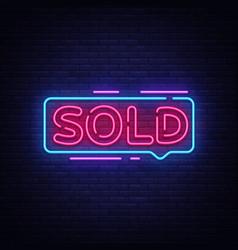 Sold neon text neon sign design vector