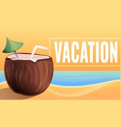 Summer tropical vacation concept banner cartoon vector