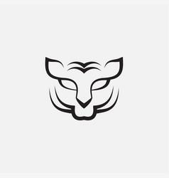 Tiger face black modern line minimalist logo vector