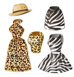 Two dresses and hat - leopard zebra vector