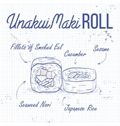 UnakuiMaki roll recipe on a notebook page vector