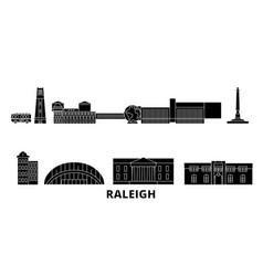 United states raleigh flat travel skyline set vector