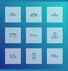 vehicle icons line style set with city car plane vector image