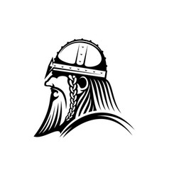 viking bearded barbarian aggressor warrior icon vector image