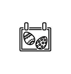 web line icon easter calendar black on white vector image