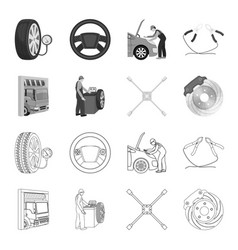 wheel balancing spanner and brake disc outline vector image