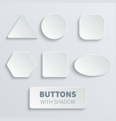 White 3d blank square and rounded button vector