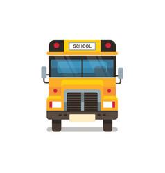 yellow school bus front view pupils transport vector image