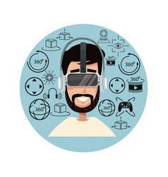 Young man virtual reality using helmet headset vector