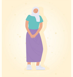 young woman wearing hijab standing icon design vector image