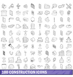 100 construction icons set outline style vector image