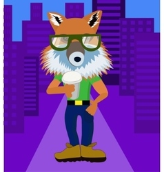 Fox hipster with coffee vector image