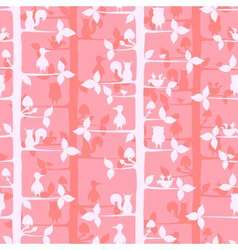 Seammles pattern with trees and forest animals vector