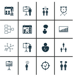 Set of 16 authority icons includes group vector