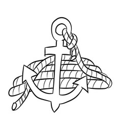 anchor cartoon with rope - line drawn vector image vector image