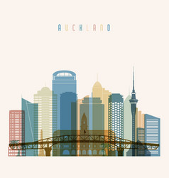 auckland skyline detailed silhouette transparent vector image