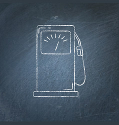 petrol filling station icon chalkboard sketch vector image