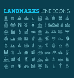 simple linear icon set representing global vector image vector image