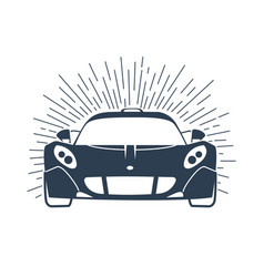 sports cars silhouette with rays vector image