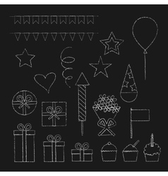 Chalk birthday party icons set vector image