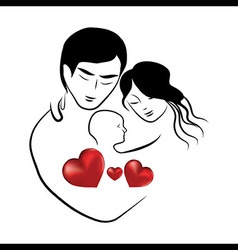 family heart icon symbol parents sketch of lovely vector image