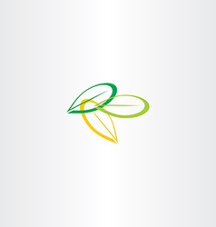 green yellow leaf icon vector image vector image