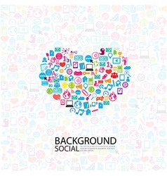 heart template design with social network icons vector image vector image