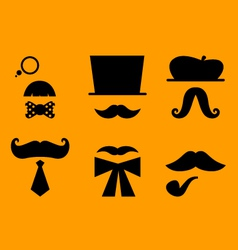 Mustaches and hats retro accessories vector image vector image