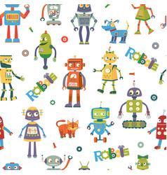 robots cartoon seamless pattern vector image