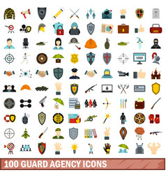 100 guard agency icons set flat style vector image
