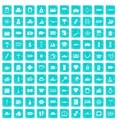 100 wealth icons set grunge blue vector