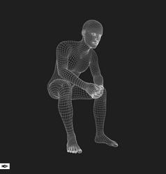 3d model of man polygonal design geometric desig vector image