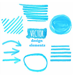 a set blue grunge strokes vector image