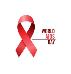 aids awareness red ribbon english world aids day vector image
