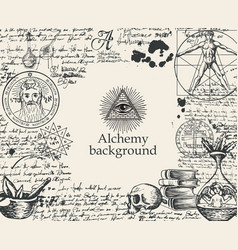 Alchemy background with vintage sketches and notes vector