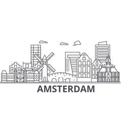 amsterdam architecture line skyline vector image
