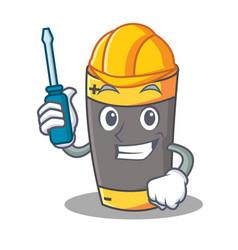Automotive battery mascot cartoon style vector