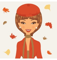 Beautiful young woman in autumn vector image