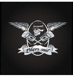 bikers soul silver crest with skullwings and vector image