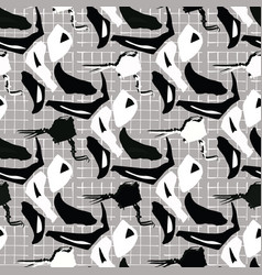 black and white abstract shapes grid seamless vector image