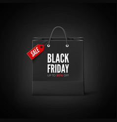 black friday banner paper bag with tag sale vector image