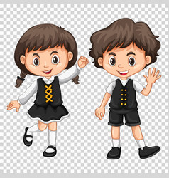 Boy and girl with black hair vector