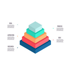 Business infographics pyramid chart with 5 steps vector