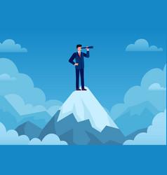 business vision businessman on mountain peak vector image