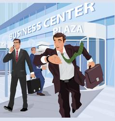 Busy businessmen near of business center vector