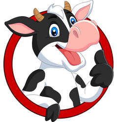 cartoon happy cow giving thumb up vector image