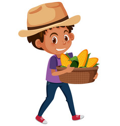 Children boy with fruits or vegetables on white vector