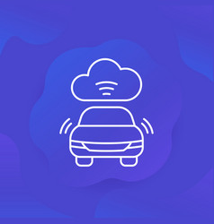 cloud technologies for transport line icon vector image