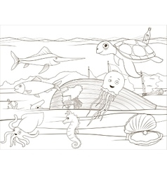 Coloring book sea life cartoon educational vector